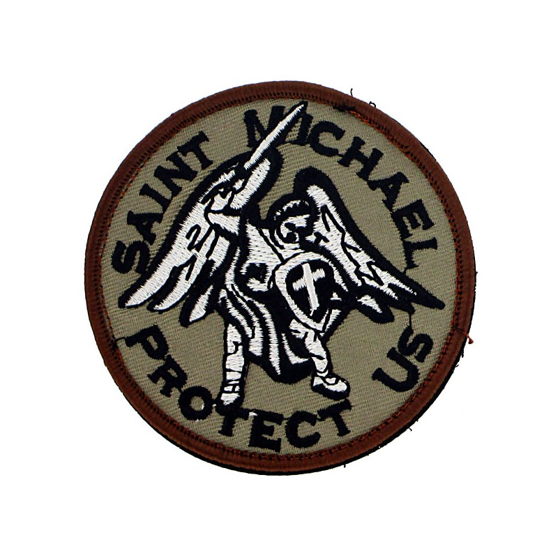 Patch tissu Saint michael l'archange beige