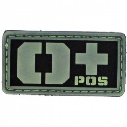 Patch PVC groupe sanguin O+ fond noir/olive