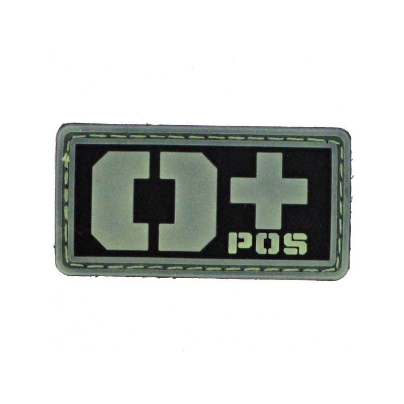 Patch PVC groupe sanguin O+ fond noir olive