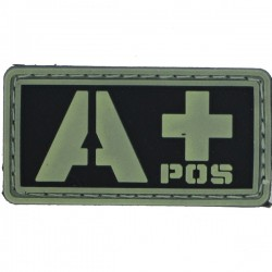 Patch PVC groupe sanguin A+ fond noir/olive