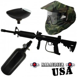 Pack paintball Valken Maraudeur USA + bouteille Air + masque Woodland