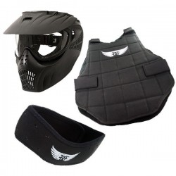 Pack protection paintball enfant classic noir (plastron + tour de cou + masque)