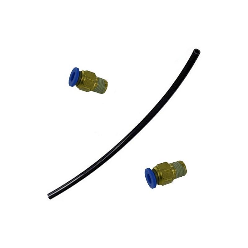 Le lot de deux raccords droit 6mm avec durite 6 mm