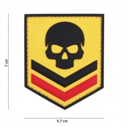 Patch 3D PVC Belgium skull yellow
