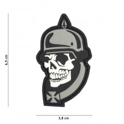 Patch 3D PVC WW I skull grey