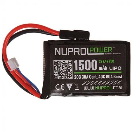 BATTERIE MICRO LIPO POWER 7.4 V 1500 mah 20 C PEQ NUPROL