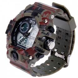 Tactical montre homme analogique et digitale camo