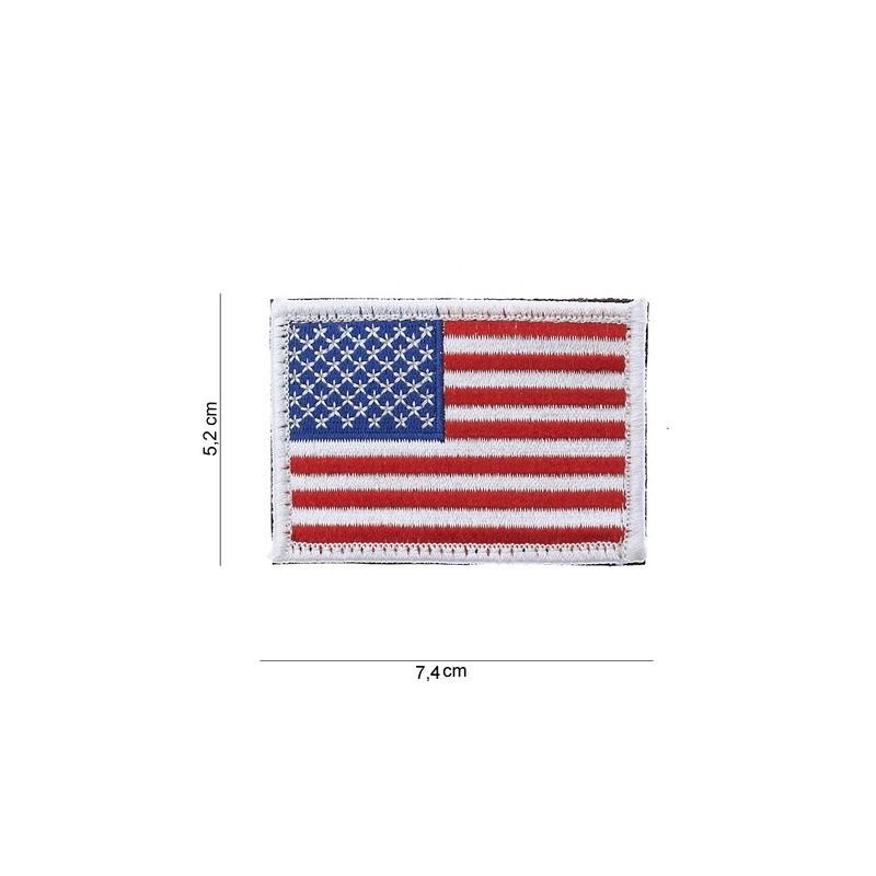 Patch  Drapeau :USA avec bordures blanches et velcovelcro