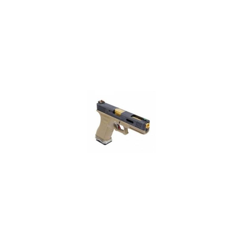 WE Glock 17 T6 Tan/Noir/Or