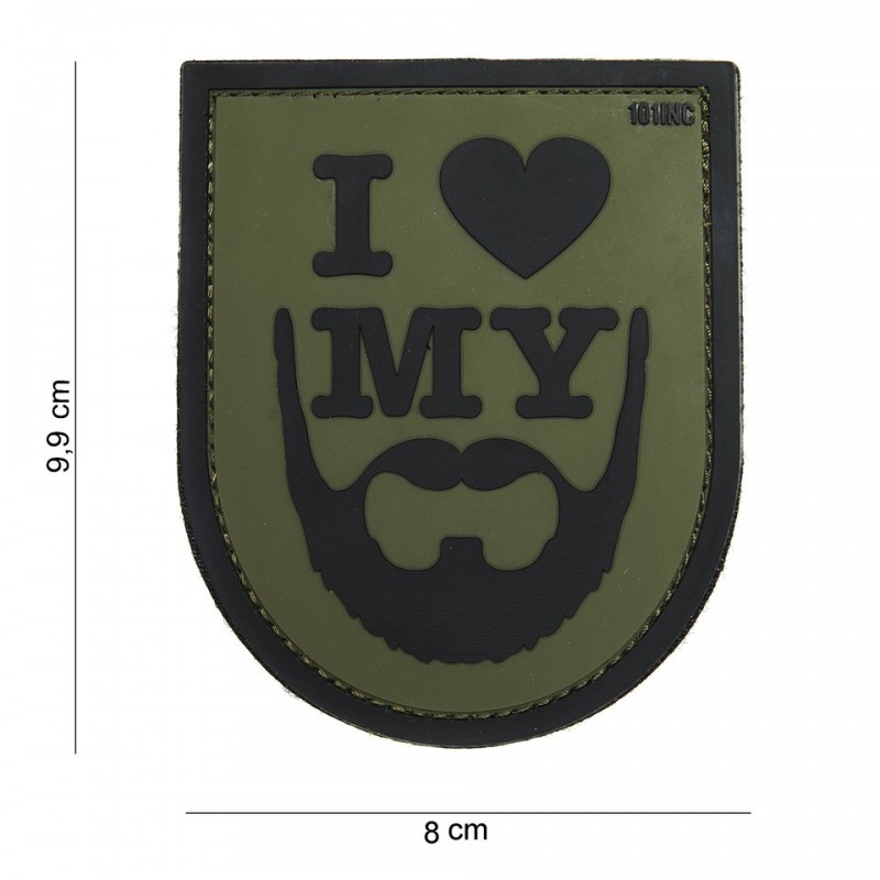 Patch 3D PVC : I love my beard green