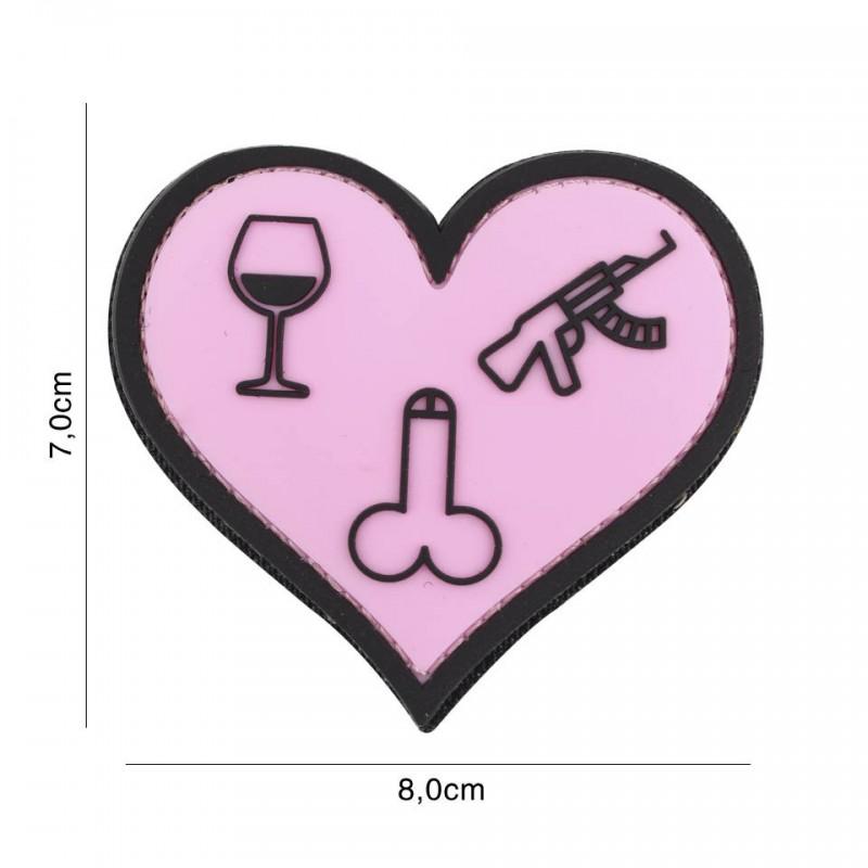 Patch 3D PVC Love, wine, dicks and guns pink