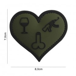 Patch 3D PVC Love, wine, dicks and guns green