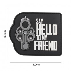 Patch 3D PVC Say hello to my friend black