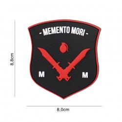 Patch 3D PVC Memeto Mori dagger black/red/white