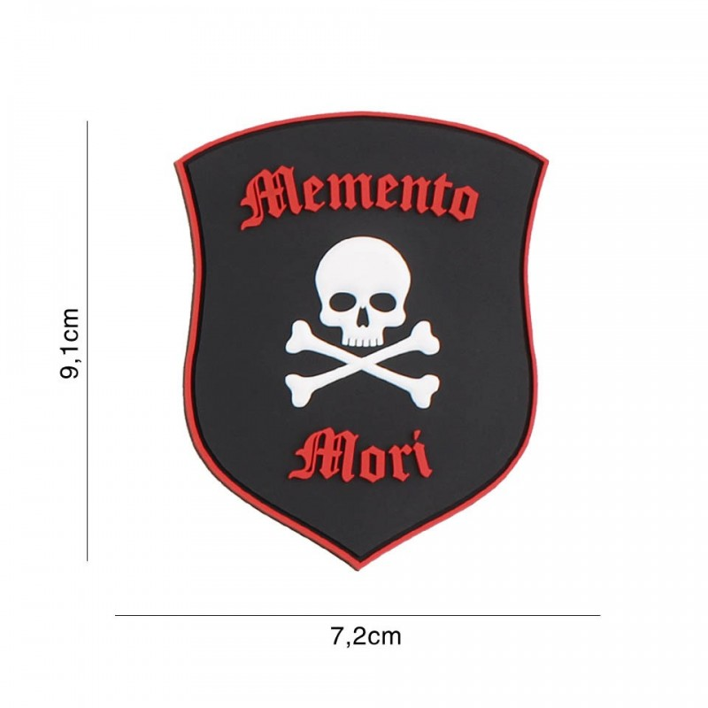 Patch 3D PVC Memento Mori shield skull black/red