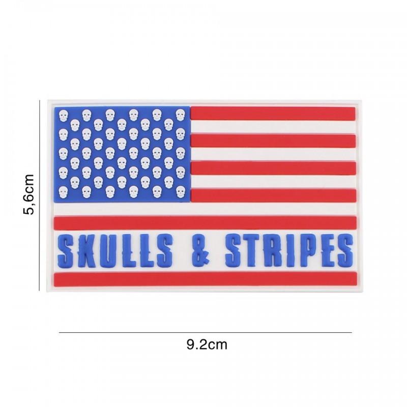 Patch 3D PVC Skulls & stripes 50 skulls No5132