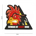 Patch 3D PVC beware of angry bird traingle No5122