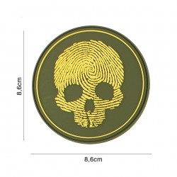 Patch 3D PVC fingerprint skull yellow No5118