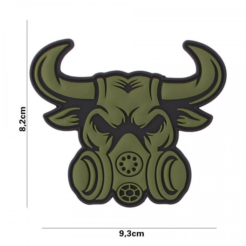 Patch 3D PVC Gassmask Bull green