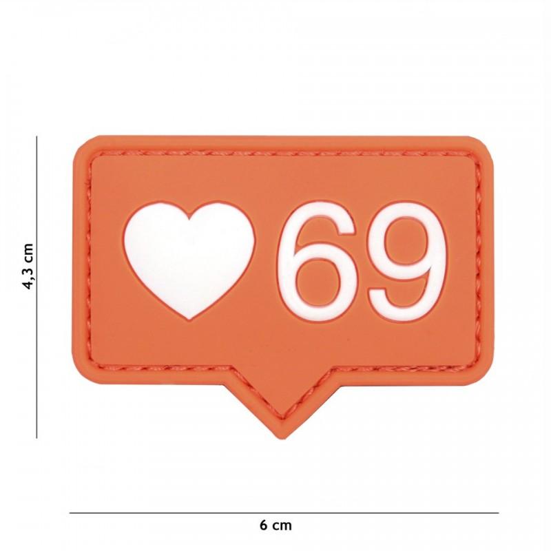 Patch 3D PVC Love 69 orange