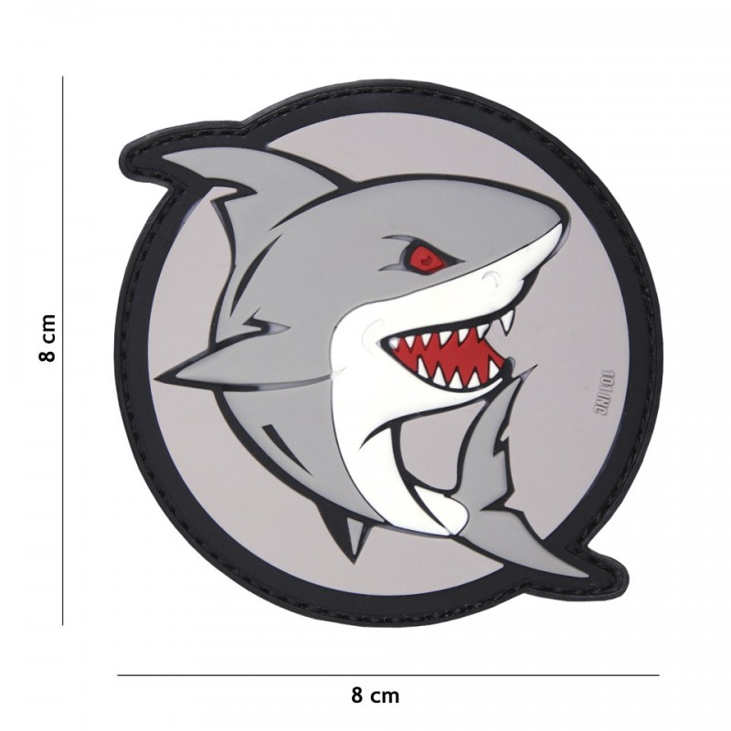 Patch 3D PVC attacking shark grey/red
