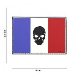 Patch 3D PVC flag France + skull