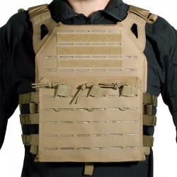 GILET PLATE CARRIER COUPE AU LASER TAN DELTA TACTICS V18 + 2 PLAQUES DE PROTECTION DUMMY
