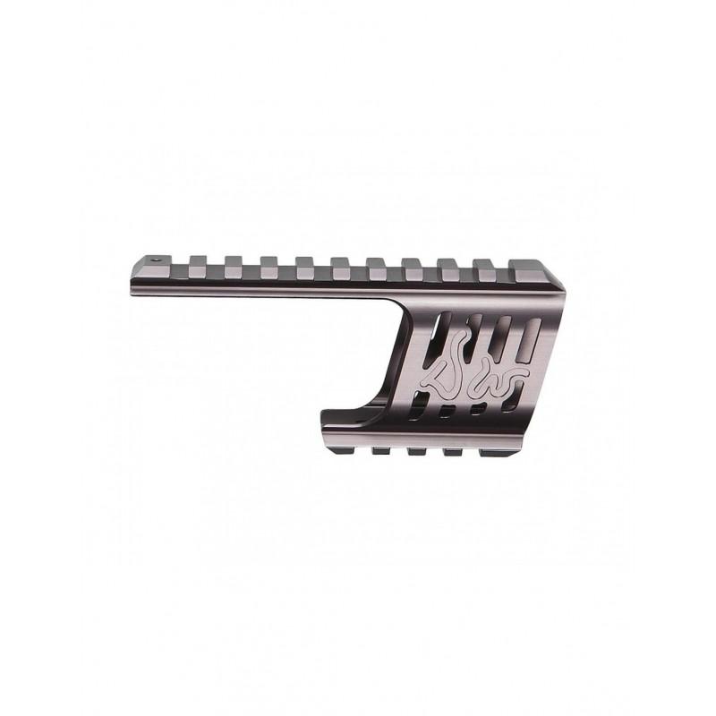 Custom CNC rail mount, DW 715, steel grey