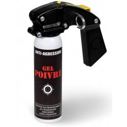 Aérosol lacrymogène anti-agression gel poivre 100 ml avec poignée